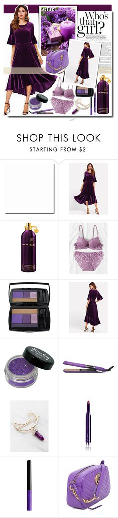 """""""Who's that girl? /SHEIN"""" by fashiondiary5 ❤ liked on Polyvore featuring Montale, Lancôme, By Terry, NYX, Gucci, purple, velvet and shein"""