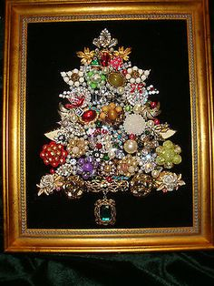 BEAUTIFUL FRAMED JEWELRY CHRISTMAS TREE,Vintage Mix of BLING ebay
