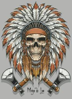 the second artwork of Indian Skull Tatoo Art, Tattoo Drawings, Art Drawings, Native Art, Native American Art, Biomech Tattoo, Indian Skull Tattoos, Image Swag, Skull Artwork