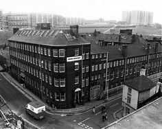 Elevated view of Sheffield City Council Housing Department Offices occupying former premises of Joseph Rogers and Sons Ltd., River Lane Works at the junction of Sheaf Street (left) and Pond Hill