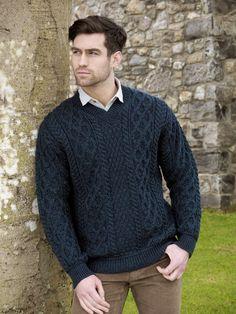 71910d754a17e0 TRADITIONAL KNIT V NECK SWEATER V4815. Irish SweatersAran SweatersMen ...