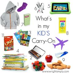 Kids carry on ideas for travel with kids! #travel #withkids #flying