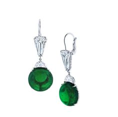 """Martin Katz Round Emerald Cabochon and Diamond Drop Earrings """"Intense Green"""" round Columbian emerald cabochons of 20.57 carats, accented wit..."""