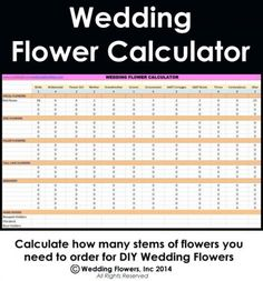 Wedding Flower Calculator Watch A Video To Learn How Use My Easy