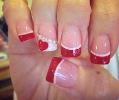 Red acrylic with white high light and a touch oh heart for love The Effective Pictures We Offer You About wedding nails bridesmaid elegant A quality picture can tell you many things. You can find the Valentine's Day Nail Designs, French Nail Designs, Art Designs, Red And White Nails, Red Nails, French Nails, Holiday Nails, Christmas Nails, Valentine Nail Art