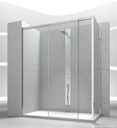 collezione Slide #vismaravetro modello V3+VG Cabina doccia con apertura scorrevole, con parete fissa supplementare per cabine doccia ad angolo.
