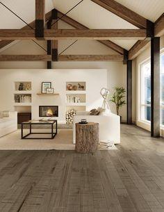 Planchers de bois franc Preverco - La nature au cœur d'un séjour – Érable, Texture Edge, Couleur Chamonix