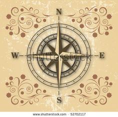 compass rose tattoos | Old Compass On Floral Background Stock Vector 52702117 : Shutterstock