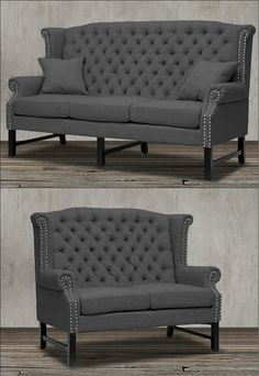 How To Find Quality Living Room Furniture King Furniture, Upholstered Furniture, Living Room Furniture, Charcoal Living Rooms, Victorian Style Furniture, Fluffy Cushions, Sofa And Loveseat Set, Silver Nail, Classic Living Room