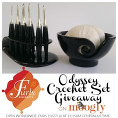 Furls Odyssey Crochet Hook Set - luxury, ergonomic hooks with a custom stand and matching yarn bowl! Win the entire set on Moogly, open worldwide, ends 10/27/16 at 12:15am!