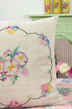 Vintage Embroidery Vintage Home - Pansy and Daisy Embroidered Cushion. Hungarian Embroidery, Learn Embroidery, Vintage Embroidery, Vintage Sewing, Embroidery Stitches, Vintage Linen, Embroidery Transfers, Hand Embroidery Designs, Embroidery Patterns