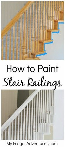 This has been the latest project in our home- painting the old builder grade oak stairwells and railings. This was a lot of work but it was a pretty cheap project and the difference is remarkable.… This has been the latest project in our home- pai Painted Stair Railings, Painted Stairs, Banisters, Banister Ideas, Stair Risers, Deck Railings, How To Paint Stairwell, Home Improvement Projects, Home Projects