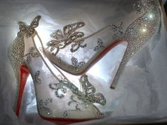 OMG!! Cinderella's glass slippers by Louboutin.