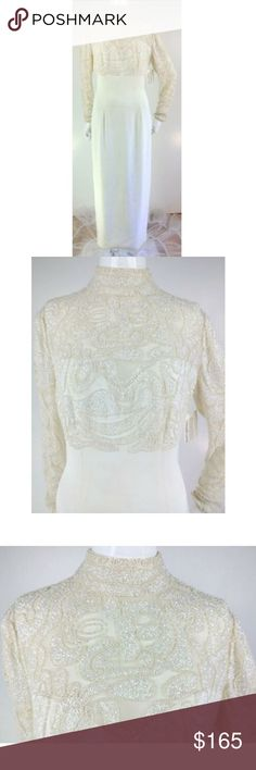 6ad358578bfb5 NWT VTG 90s Nitline Ivory Bead Lace Cocktail Gown NWT VTG 90s Nitline Ivory  Bead  amp