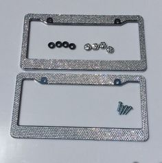 02a6e93cdfc 2pc Silver Diamond Bling Rhinestone Metal License Plate Frame Cover For Any  Car