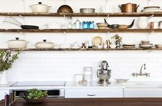 urban kitchens with open shelving | white bright kitchen with wood open shelves