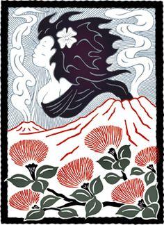Artist rendering of Pele, volcanoes, and lehua blossoms Cultural Festival Celebrates Pele. Perhaps a small ohia for kapoho. Hawaiian Flowers, Hawaiian Art, Lilies Flowers, Day Lilies, Tulips, Blossom Tattoo, Peonies Garden, Flowers Garden, Cute Hats