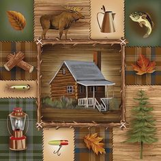 At The Cabin Outdoors Ed Wargo 18x18 inch Framed or Unframed Picture Print Art | eBay