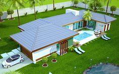 Casa Campo Grande - muito lazer e conforto na praia ou no campo New House Plans, Modern House Plans, House Floor Plans, Villa, Sims House, Small House Design, House Layouts, My Dream Home, Exterior Design