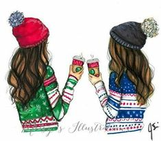 Image result for best friends drawing