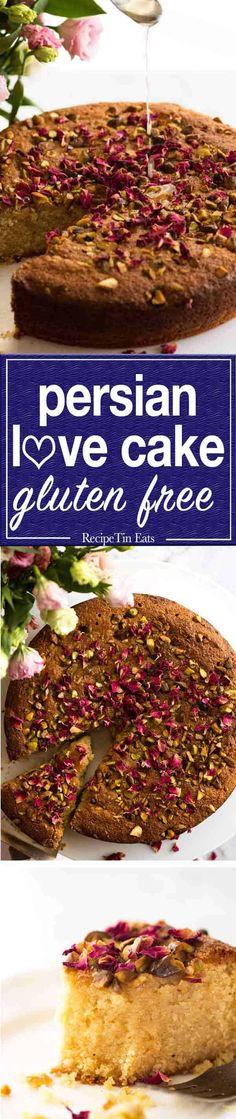 A beautiful Persian Love Cake that happens to be gluten free, made with semolina and almond meal. The best part is pouring the syrup over the cake so it soaks all the way through! Gluten Free Cakes, Gluten Free Recipes, Cake Recipes, Dessert Recipes, Desserts, Recipetin Eats, Recipe Tin, Almond Recipes, Love Cake