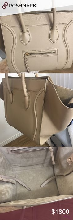 Celine Phantom Handbag Beige $1400 🅿️🅿️Only used for a few weeks is like new condition. No stains no odor. Tiny black ink spot inside bottom corner not noticeable. Absolutely gorgeous. Comes with tags, receipt, and dust bag. Celine Bags Satchels