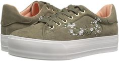 Qupid Women's Mya-01 Embroidered Lace-Up Khaki Fashion Sneaker #Qupid #LaceUp