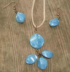 'Deep blue nugget pendant and earring set'