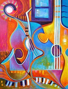 Abstrait peinture originale oeuvre l'âme de la musique Scoubidou Vera Art  expressioniste fauvisme sax piano jazz contemporaine guitare moderne  musicale   Œuvre…