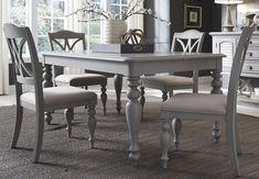 Summer House Dove Grey Rectangular Leg Extendable Dining Table2