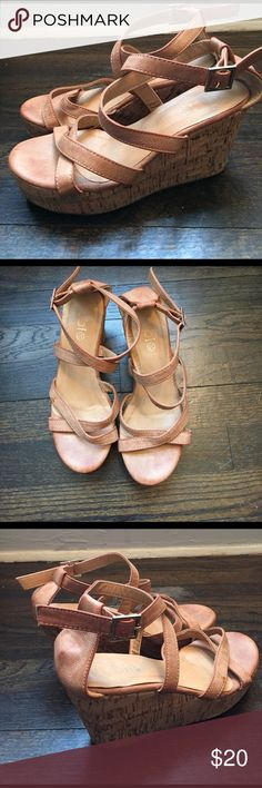 Cute cork wedges Great condition rubi strap wedges in a cream tan color with cute comfy height wedge! Fit true to size 7 and only worn once Cotton On Shoes Wedges