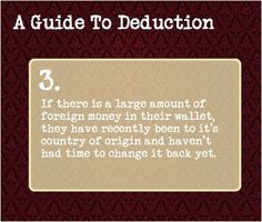 a guide to deduction #3 | guide to deduction. 3 | Deductions | Pinterest