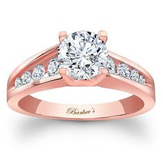 Barkev's 14K Rose Gold Diamond Channel Set Round Cut Engagement Ring Featuring 0.41 Carats Style 7789L_Rose