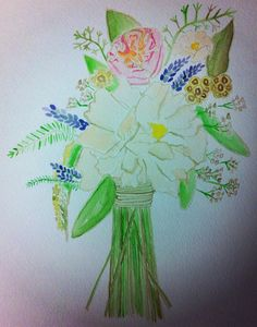 Custom watercolor bridal bouquet for you to by shelleyjacqueline, $80.00