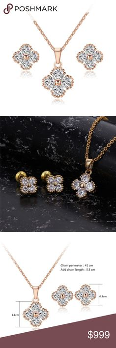 Preview! Gold tone and CZ Earrings & Necklace Set Unbranded fashion jewelry set. Like listing for arrival and price drop. Jewelry Earrings