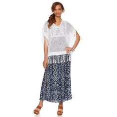 Daisy Fuentes Crochet Poncho with Fringe Detail - Ivory/Off White