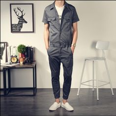 05d4c538190e 2017 New Summer Men Jumpsuit Casual Harem Bib Pants Male Fashion Hip-hop  Jumpsuit Overalls Elegant Cool Trousers 041607