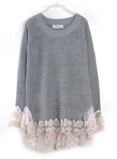 To find out about the Lace Hem Stitching Pullover Grey at SHEIN, part of our latest Sweaters ready to shop online today! Altered Couture, Diy Clothing, Sewing Clothes, Diy Fashion, Ideias Fashion, Old Sweater, Slouchy Sweater, Jumper, Sweatshirt Refashion