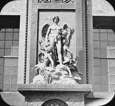 World's Columbian Exposition: Transportation Building, Chicago, United States, 1893. Transportation Building. Statuary each side of doorway. Brooklyn Museum Archives, Goodyear Archival Collection (S03_06_01_016 image 2249).