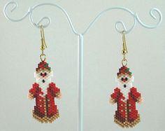 Santa's Suit Beaded Earrings Christmas Jewelry di LazyRose