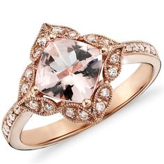 2.83CT Cushion Morganite Vintage Diamond Ring 14K Rose by Pompeii3