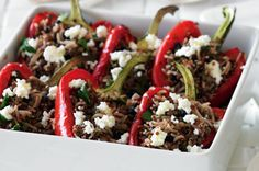 On the cooking list this weekend: Capsicums stuffed with quinoa, rice and lentil salad - yummy and healthy! Rice Recipes, Vegetarian Recipes, Cooking Recipes, Healthy Recipes, Savoury Recipes, Vegetable Recipes, Healthy Eats, Healthy Foods, Lentil Salad Recipes