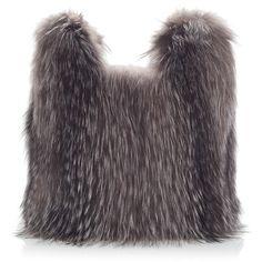 Simonetta Ravizza Fox Fur Tote ($1,315) ❤ liked on Polyvore featuring bags, handbags, tote bags, grey tote, tote handbags, grey purse, grey handbags and grey tote handbags