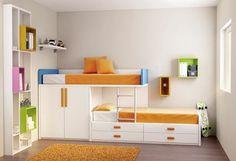 Foto: ¡Buenos días! Hoy destacamos nuestra cama tren del catálogo juvenil Kids UP. Una gran solución de espacio para las exigencias de los pisos de hoy. Cama tren con cama compacta nº4 y estantería.