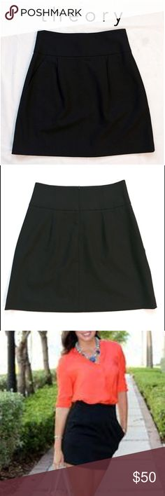 """Theory Hi Waist Mini Skirt Theory high waist skirt in black. Two front side pockets. Zippered back closure. Composition: 96% wool, 4%lycra. Made in the USA. Dry clean only. Size 6. 18.5"""" from waist to hem. NWOT. Wear it with black matte tights and a button down shirt. Theory Skirts Mini"""