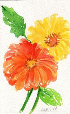 Gerbera Daisies Watercolor, Yellow and Orange Original  Gerber Daisy artwork, Flowers painting