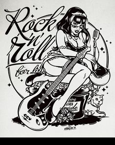 Kustom Graphics by Alex Patrocinio, via Behance Rock n roll rockabilly pinup illustration Rock And Roll Tattoo, Tatouage Rock And Roll, Rock And Roll Girl, Rock N Roll, Colouring Pages, Adult Coloring Pages, Pin Up Girls, Rockabilly Artwork, Dibujos Pin Up