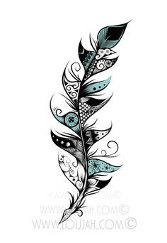 Poetic Feather by LouJah  #art #loujah  #illustration #draw #drawing #doodle #boho #bohochic #bohostyle #bohemian #gypsy #hippy #indie #aztec #feather #feathers #plume #turquoise  #dessin #tattoo #ideatattoo #tattooidea