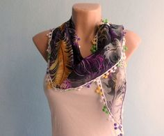 Feather Scarf Cotton Scarf Purple Brown Black by fizzaccessory