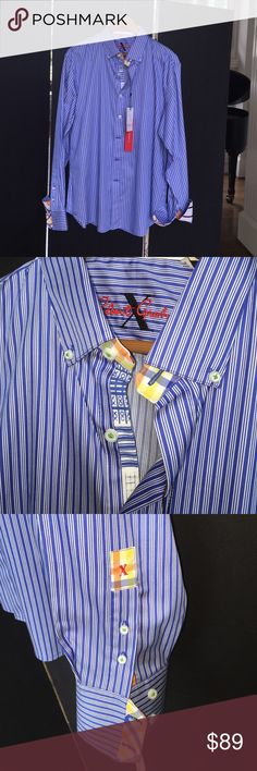 Robert Graham X Collection Shirt Robert Graham X Collection Blue Tanjung Long sleeve Sport Shirt.  Striped broadcloth.  Spread color; button front, barrel cuffs with contrasting revers.  Yoked back shoulders, shirttail hem.  100% cotton.  SOLD OUT else where. Robert Graham Other